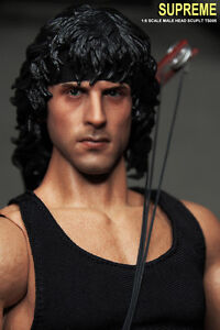 1//6 SCALE CUSTOM SYLVESTOR STALLONE RAMBO ACTION FIGURE HEAD!