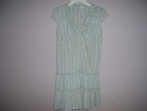 Forever-Juniors-Size-S-Multi-Color-Green-Striped-Mini-Dress-Cap-Sleeves