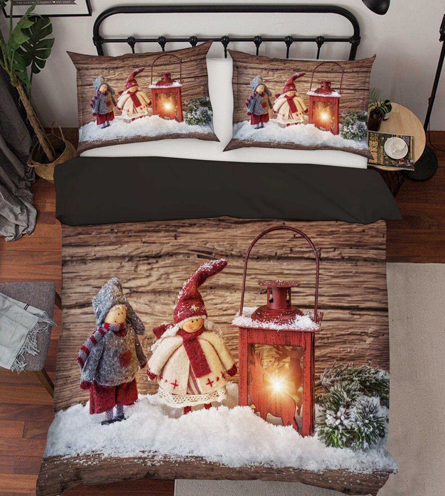3D Christmas Xmas Deco 68 Bed Pillowcases Quilt Duvet Cover Set Single King UK