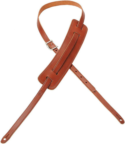 """Levy/'s M25-WAL5//8/"""" Carving Leather Guitar//Bass Strap Classic 50s Pad-Walnut"""