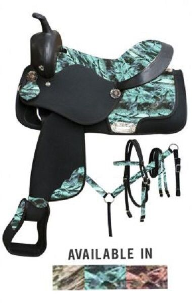 Double T Synthetic Saddle SET with Camo Print Seat and Accents 16 3 Colorees NEW