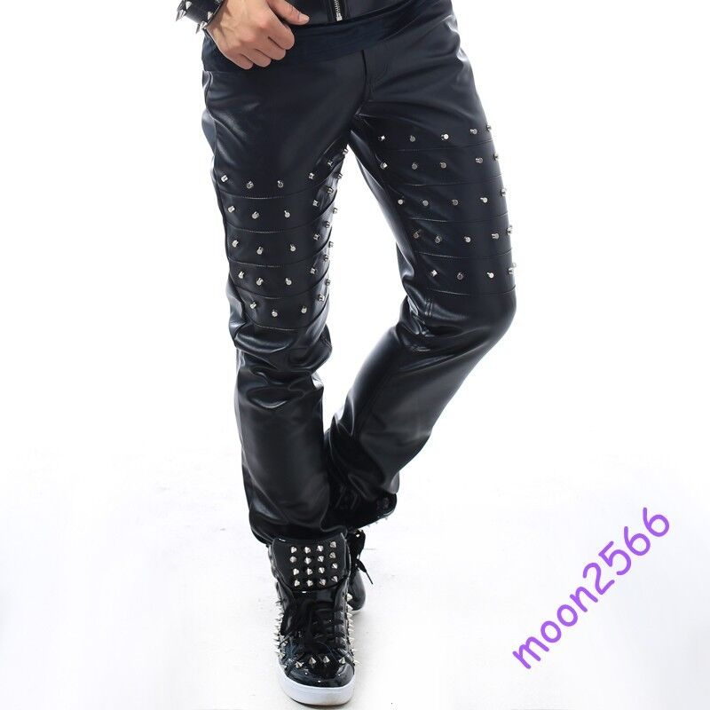 Men Stage Costume Long Pants Rivet Leather Slim Fit Punk Nightclub Trousers New
