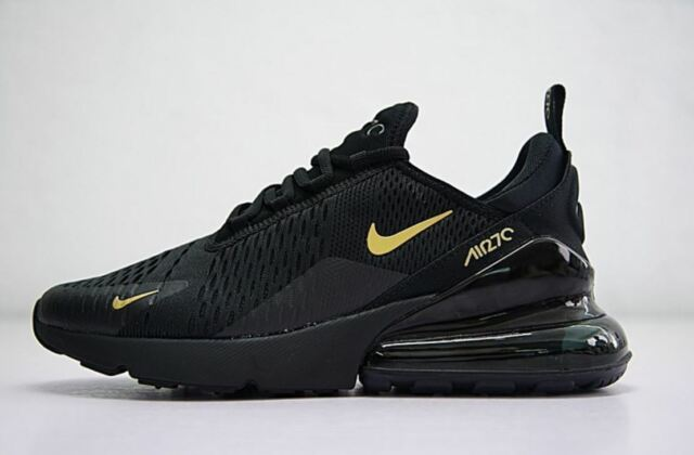 sale retailer 266aa 8f29a MENS BLACK GOLD NIKE AIR MAX 270 ATHLETIC SHOES SIZES 7-11