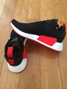 Adidas NMD R2 PK Mens BA7252 Black Red Primeknit Boost Size 10.5   eBay