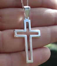 925 Sterling Silver Plain/Open Cross Crucifix Pendant 35mm x 23mm Jewellery