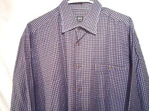 Ike-Behar-Men-039-s-Shirt-Large-Blue-amp-Brown-Checked-NEW-YORK-Button-Up-Long-Sleeve