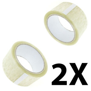 2X-New-BIG-Rolls-Of-CLEAR-BUFF-Parcel-Tape-Packing-Strong-Packaging-48MM-x-66M