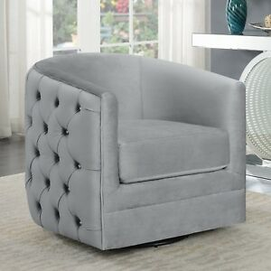 Details About Modern Luxe Glam Faux Crystal Tuft Silver Velvet Fabric Accent Chair With Swivel
