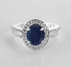 925-Sterling-Silver-Ring-Dual-Shank-Blue-Sapphire-Gemstone-Sz-4-11