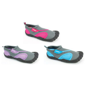 22c6b7a17342 Women Aqua Shoe Outlined Toes Water Shoes Ladies Beach Pool Swim ...