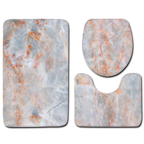 3PCS Marble Pattern Non-Slip Pedestal Rug Toilet Seat Cover Bath Mat Set Carpet