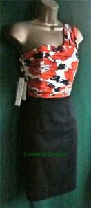 New-LAURA-ASHLEY-UK-8-Black-Orange-Silk-POPPY-PRINT-One-Shoulder-Pencil-Dress