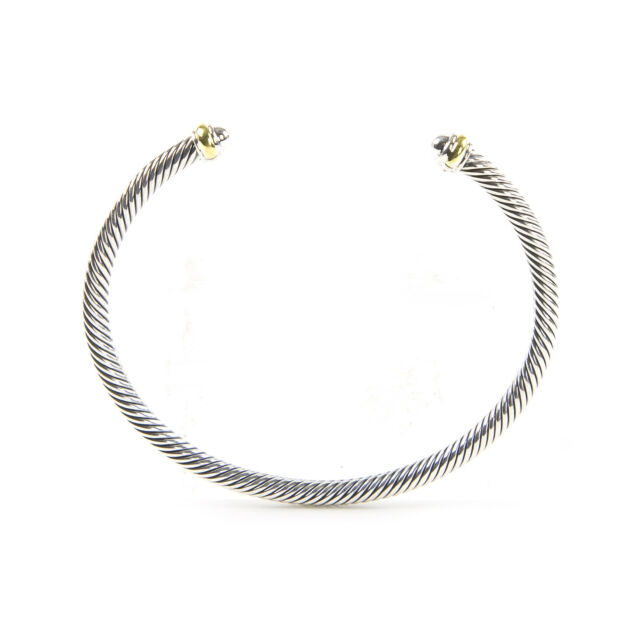 DAVID YURMAN Womens Cable Classics Bracelet with 18K Gold 4mm $395 NEW
