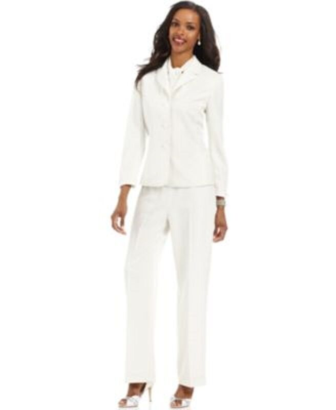 Le Suit Sz 8 Ivory  Luxemburg Gardens   Slit Sleeve Career Pant Suit Evening Sui