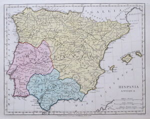 1796 Ancient Spain Hispania Antiqua Map Wilkinson Pub 1808 Ebay