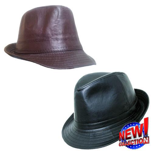 Mens Ladies Kids Retro Black Leather Look Trilby Hat  Five sizes Fast Dispatch