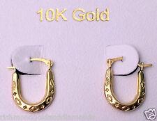 Solid 10k Yellow Gold U shape Oval Patterned Hoops Hoop Earrings Clearence Sale