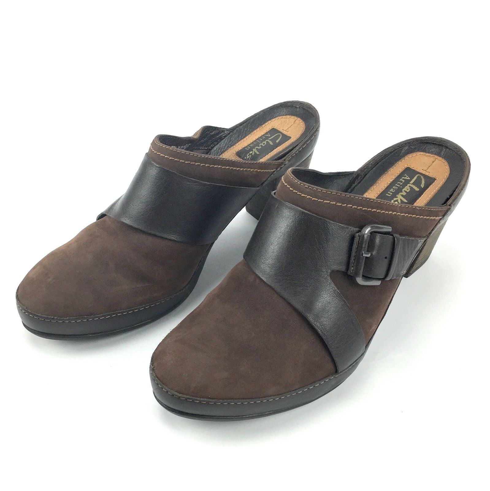 Clarks Artisan Womens Size 9.5M Dark Brown Mules Clogs Heels 82784 shoes