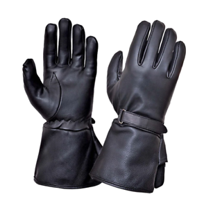 Mens-Black-Leather-Motorcycle-Gauntlet-Gloves-8293