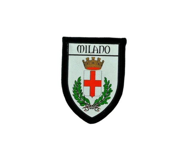 Patch printed embroidery travel souvenir shield city flag milan italy