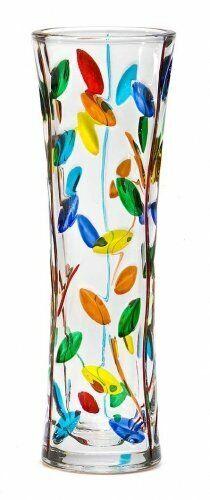 Murano Glass Small Italian Vase, Colorful Tree of Life Design