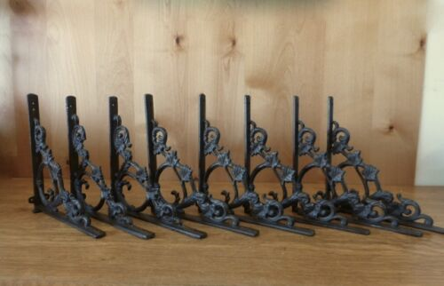 "SET 8 BROWN ANTIQUE-STYLE 9.5/"" SHELF BRACKETS CAST IRON rustic garden LEAF SWIRL"