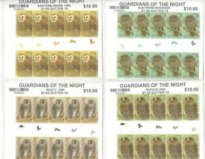 GUARDIANS-of-NIGHT-OWLS-STAMPS-4-GUTTER-BLOCKS-MINISHEET-amp-SINGLES-SET-MINT