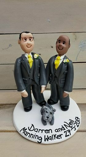 Personalised wedding cake topper de même Sexe, Unique Fait Main Argile Keepsake
