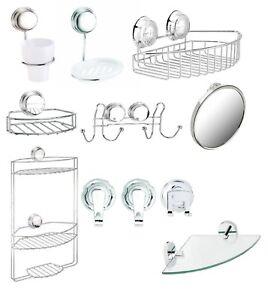 Chrome Twist N Lock Plus Suction Fix Screw Fix Bath Bathroom Accessories Set Ebay