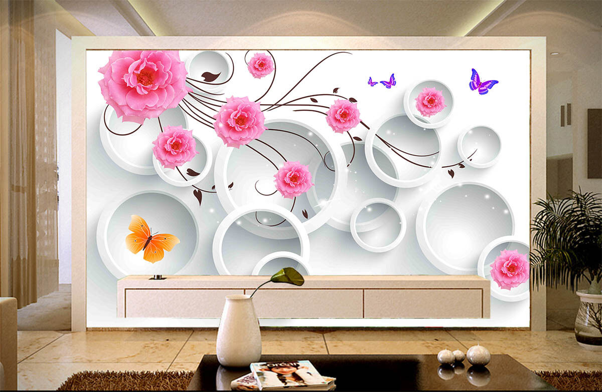 3D Round pink flowers 1 Paper Murals Wall Print Decal Wall Deco AJ WALLPAPER