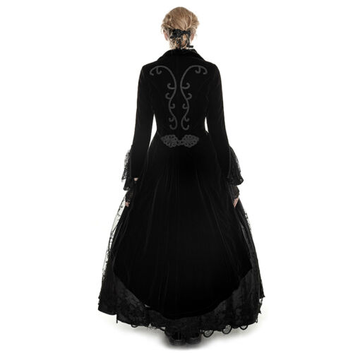New PUNK RAVE Gothic Victorian Jacket Coat Black Velveteen Y-658 FAST POSTAGE