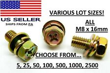 Usa 5 To 2500 Pack Phillips Hex Head M8 X 16mm Sems Flatsplit Washer Bolt Nh