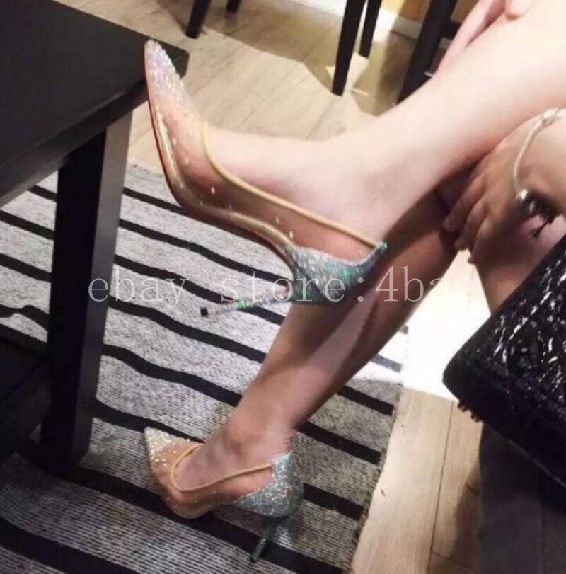 Womens sequins pointed pumps ladies' leather Rhinestone wedding shoes Pumps SZ
