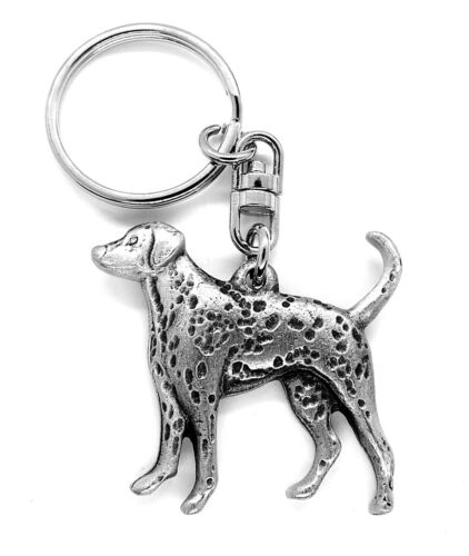 Dalmatian Dog Pewter Keyring in black organza gift pouch