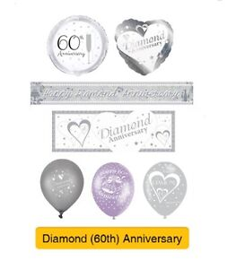 Image Is Loading Diamond 60th Wedding Anniversary Party Banners Balloons Amp