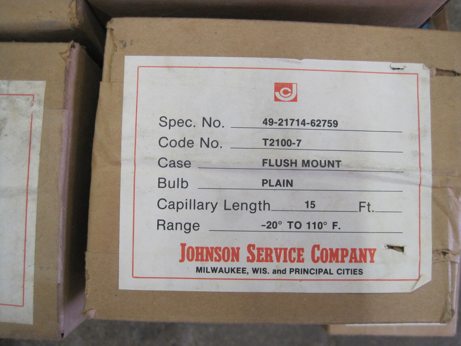 NEW JOHNSON SERVICE CO. 49-21714-62759 TEMPERATURE GAUGE 492171462759