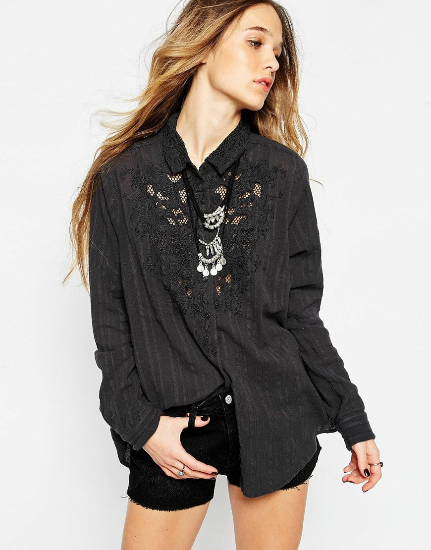 FREE PEOPLE damen NEW CARTER DOBBY BUTTON DOWN LACE SHIRT GRAPHITE S