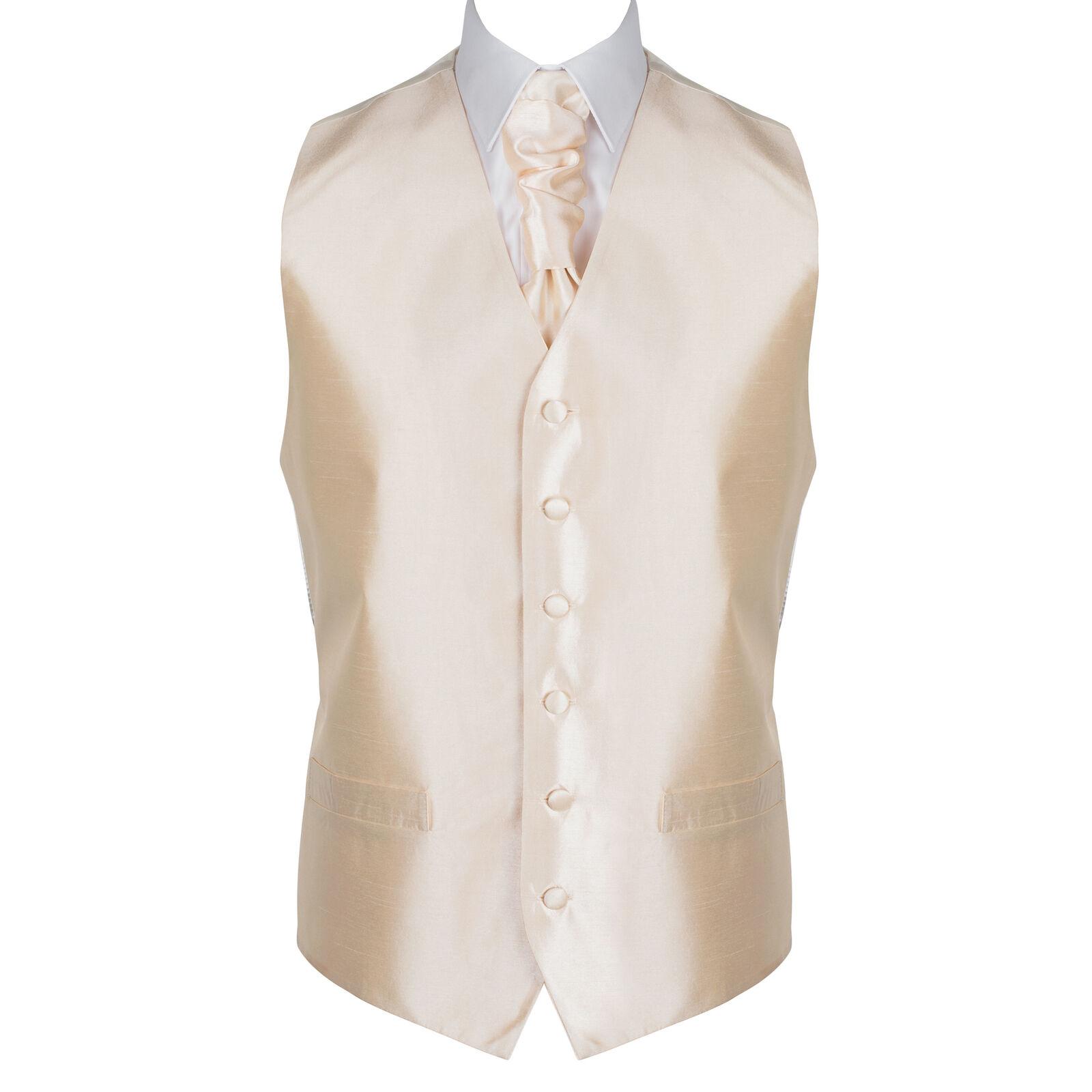UK Men's Butter Cream Wedding Waistcoat Plain 6 Button Jacquard Suit Vest Tailor