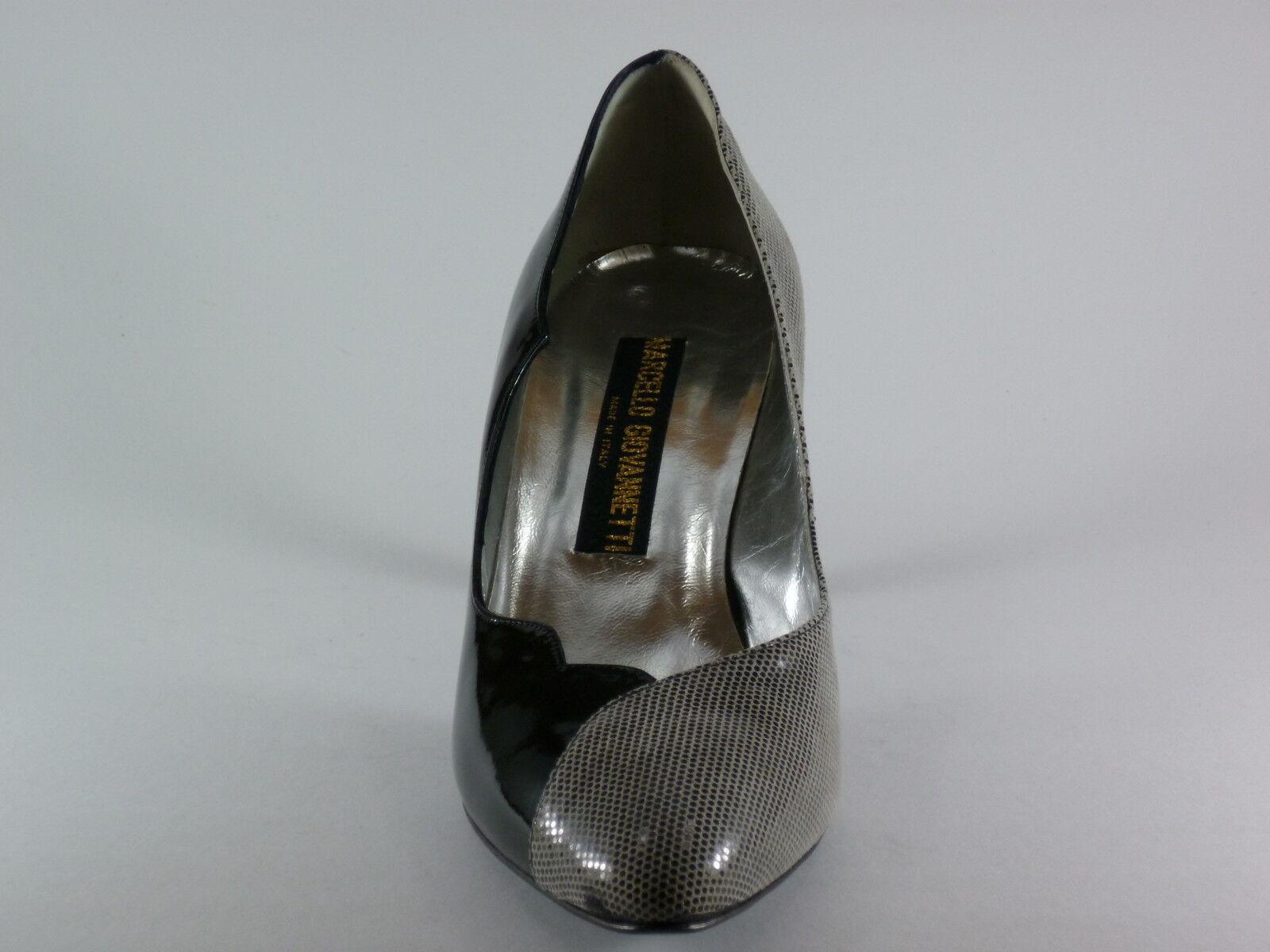 Marcello Giovannetti Mujer 41 Noche Charol Negro gris Zapatos de Noche 41 Tacón Nuevo cf59e0
