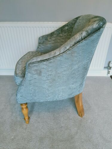 Vintage Tub Style Chair (Silver metallic coloured fabric)