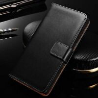 Glossy Genuine Leather Flip Card Wallet Case Cover For Samsung Galaxy A3 A5 A7