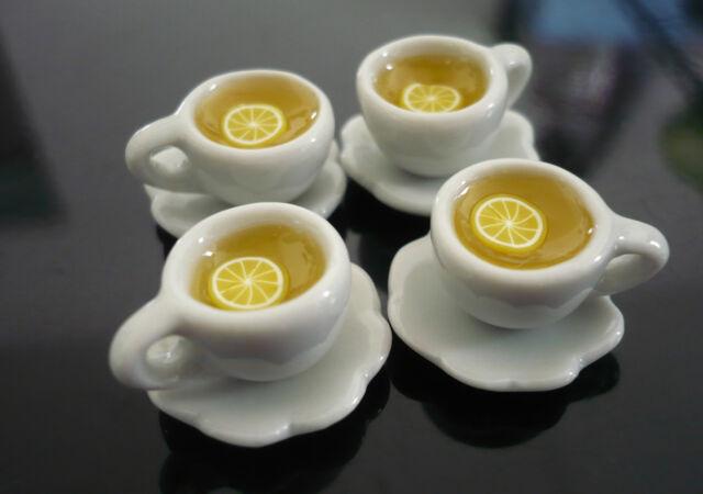 Set of 4 Cups of Tea Hot  Lemon Dollhouse Miniatures Food Supply Deco