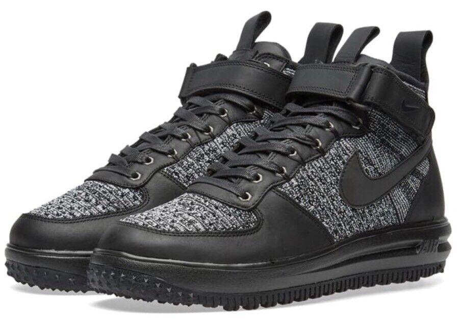 Nike 860558-001 Air Lunar Force Flyknit Black White Oreo Women's Workboot Sz 5