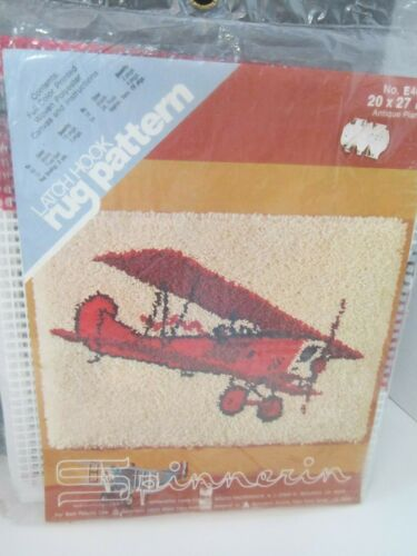 "SPINNERIN LATCH HOOK RUG PATTERN ANTIQUE CAR OR ANTIQUE PLANE 20 X 27/"" NEW!"
