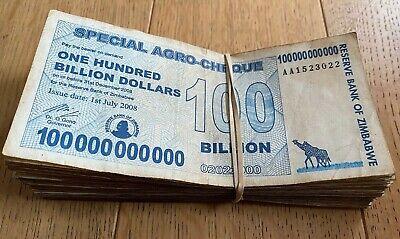 ZIMBABWE 10 X 100 BILLION DOLLAR  BANKNOTE P64 AB AUNC 10 PCS.