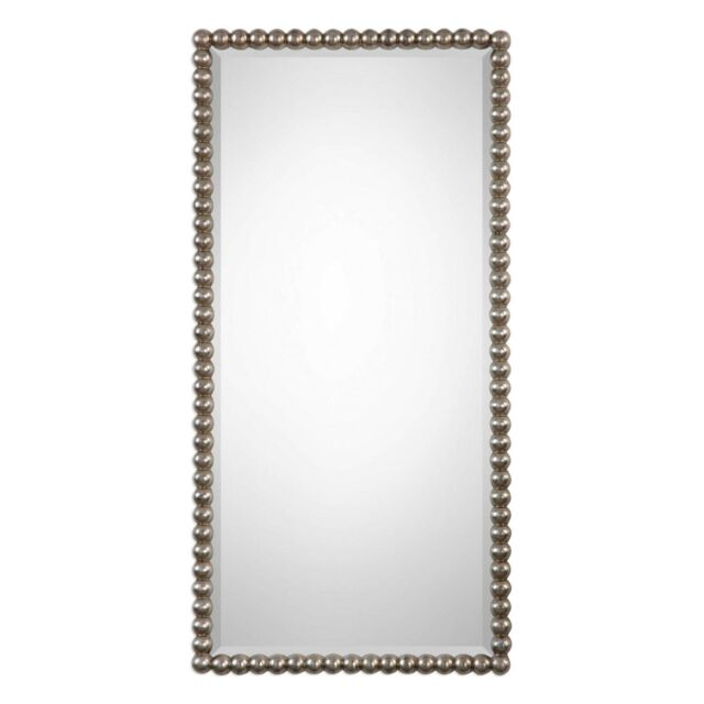 Ball Edge Wall Mirror Silver 16x32h Beveled Rectangle Beaded Bubble Modern For Sale Online
