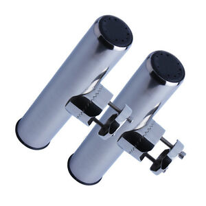 2Pcs Stainless Steel Fishing Rod Holder Clamp-on for 7/8'' to 1'' Rails for Boat