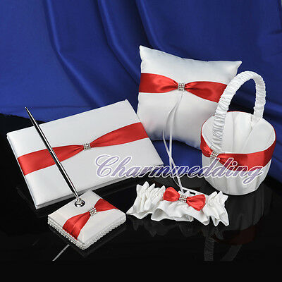 White Wedding Guest Book Pen Set Red Bow Ring Pillow Flower Girl Basket Garter
