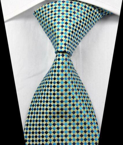 Hot Classic Checks Beige Blue JACQUARD WOVEN 100/% Silk Men/'s Tie Necktie