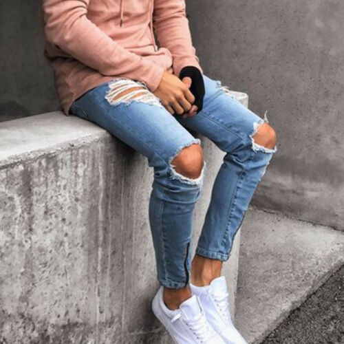 Mens Fashion Distressed Jeans Frayed Ripped Denim Pants Slim All Waist Trousers